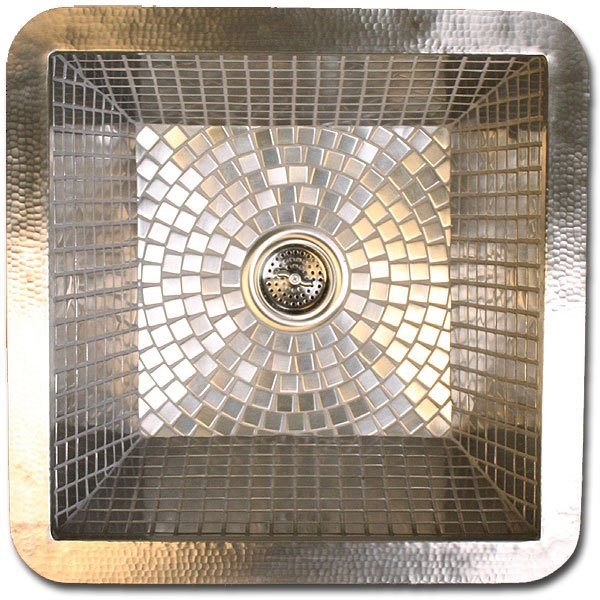 "Linkasink Bar Sinks - Stainless Steel Mosaic Tile - V041 Bar or Vegetable Prep Sink - Large Square - 1.5 to 3.5"" drain - Click Image to Close"