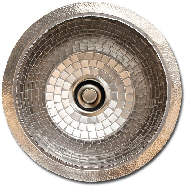 "Linkasink Bar Sinks - Stainless Steel Mosaic Tile - V042 Nickel Plated Copper Prep Sink - 1.5 to 3.5"" drain"