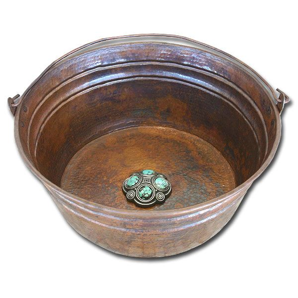 Linkasink Bathroom Sinks - Copper - C049 WC Copper Bucket Bathroom Sink - 17 x 6.5 - Weathered Copper