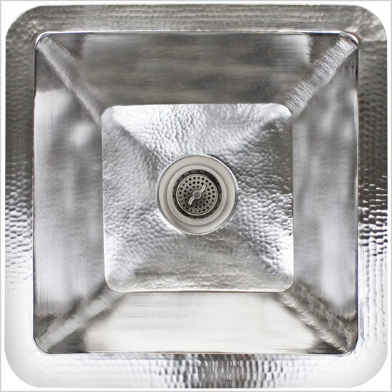 "Linkasink Kitchen Sinks - C008-SS Stainless Steel - Large Square Prep Sink - 3.5"" drain - Satin"