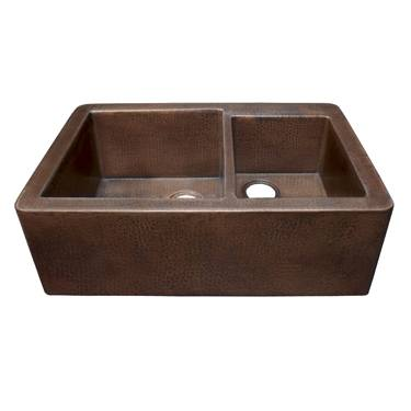 Native Trails Kitchen Sinks - Copper - Farmhouse Duet CPK276 - Antique Finish