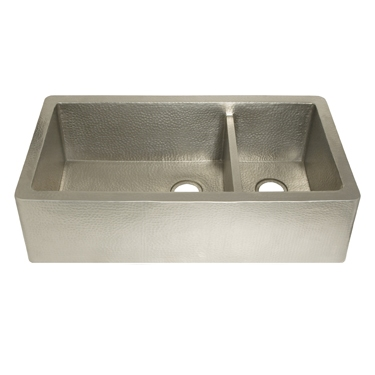 Native Trails Kitchen Sinks - Copper - Farmhouse Duet Pro CPK574 - Brushed Nickel