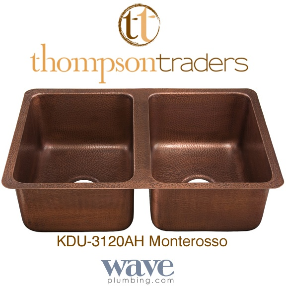 Thompson Traders Sinks - Kitchen - Copper - Renovations Monterosso KDU-3120AH Double Bowl Hammered Copper Sink -