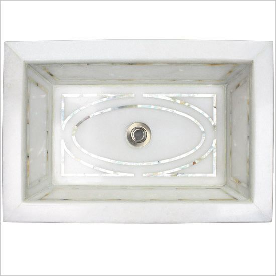 Linkasink Bathroom Sinks - White Marble Mother of Pearl Inlay - MI04 Graphic Undermount Bath Sink