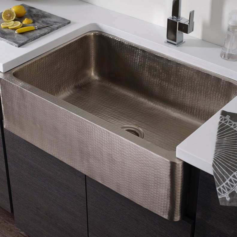 Thompson Traders Kitchen Farmhouse Sinks   Legacy Lucca KSA 3322 HSS Apron  Front   Hammered Stainless Steel