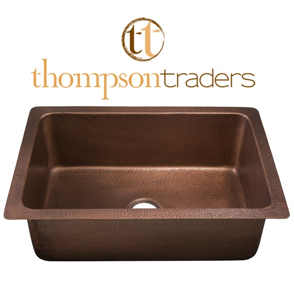 Thompson Traders Sinks - Kitchen - Copper - Renovations Pisa KSU-3020AH Single Bowl - Hammered Medium Antique Copper
