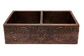 "Premier Copper Products - Farmhouse Kitchen Sink KA50DB33229 - 33"" Copper Hammered Kitchen Apron 50/50 Double Basin Sink"