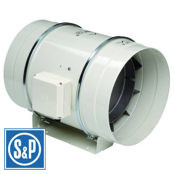 "S&P Soler & Palau Ventilation Fans - TD-250 10"" Duct Inline Mixed Flow Duct Ventilation Fan - H 754 cfm L 541 cfm"