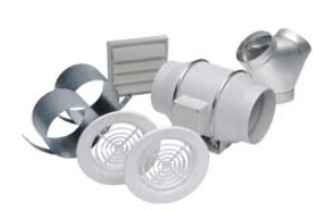 "S&P Soler & Palau Ventilation Fans - KIT TD150-DV 6"" Duct TD Deluxe Exhaust Inline Mixed Flow Duct Ventilation Fan Kit"