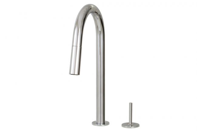 Aquabrass Kitchen Faucets - Quinoa Joy Slim - 6045J - Pull-down dual stream mode kitchen faucet with side joystick - 2 Finishes