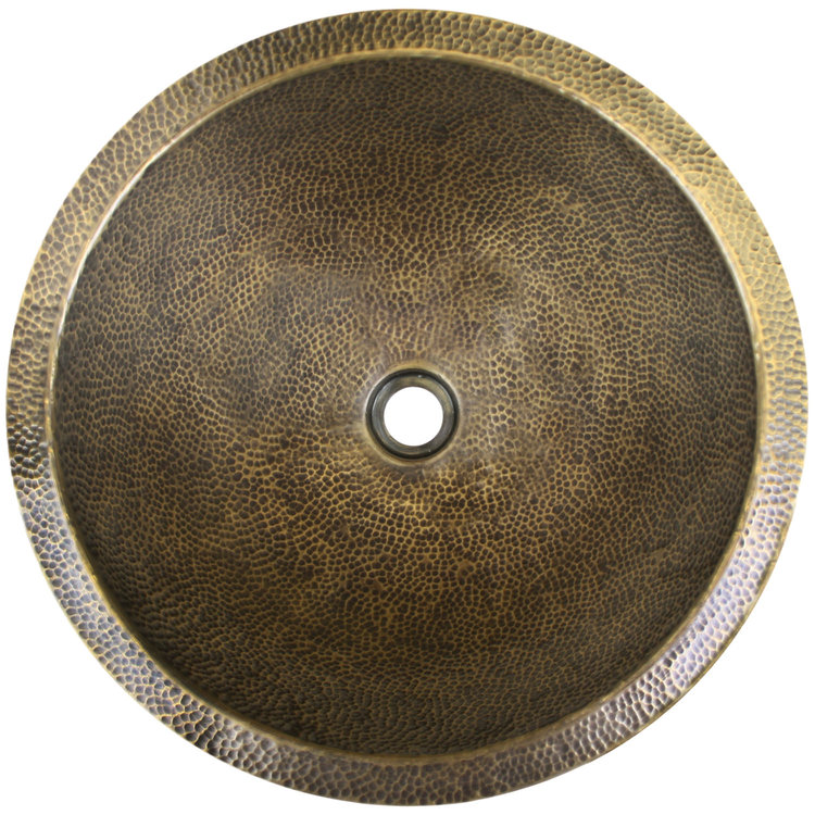 "Linkasink Bathroom Sinks - Builders Series - Bronze - BLD102 AB - Large Round - 16.5"" x 7"" with 1.5"" Drain Hole - Antique Bronze Finish"