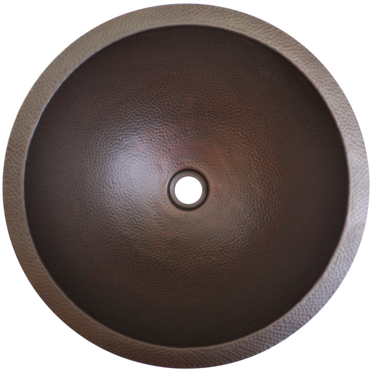 "Linkasink Bathroom Sinks - Builders Series - Bronze - BLD101 DB - Small Round - 13.5"" x 6"" with 1.5"" Drain Hole - Dark Bronze Finish"