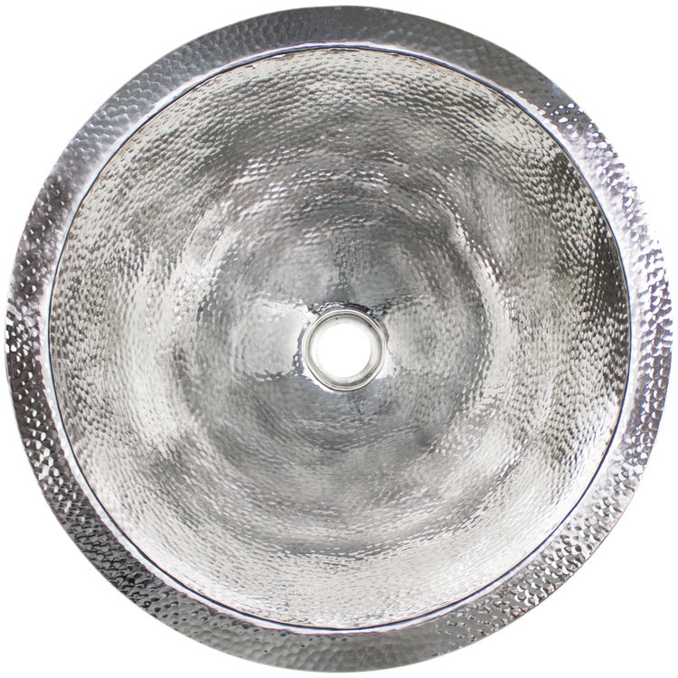 "Linkasink Bathroom Sinks - Builders Series - Stainless Steel - BLD102 PS - Large Round - 16.5"" x 7"" with 1.5"" Drain Hole - Polished Stainless Steel Finish"