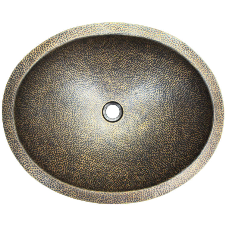 "Linkasink Bathroom Sinks - Builders Series - Bronze - BLD103 AB - Oval - 20"" x 16.5"" with 1.5"" Drain Hole - Antique Bronze Finish"