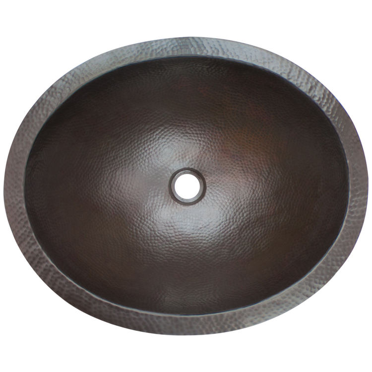 "Linkasink Bathroom Sinks - Builders Series - Bronze - BLD103 DB - Oval - 20"" x 16.5"" with 1.5"" Drain Hole - Dark Bronze Finish"