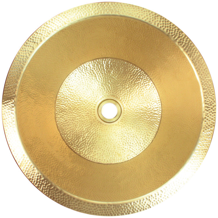 "Linkasink Bathroom Sinks - Builders Series - Brass - BLD104 UB - Small Flat - 16.5"" x 7"" with 1.5"" Drain Hole - Satin Unlaquered Brass Finish"
