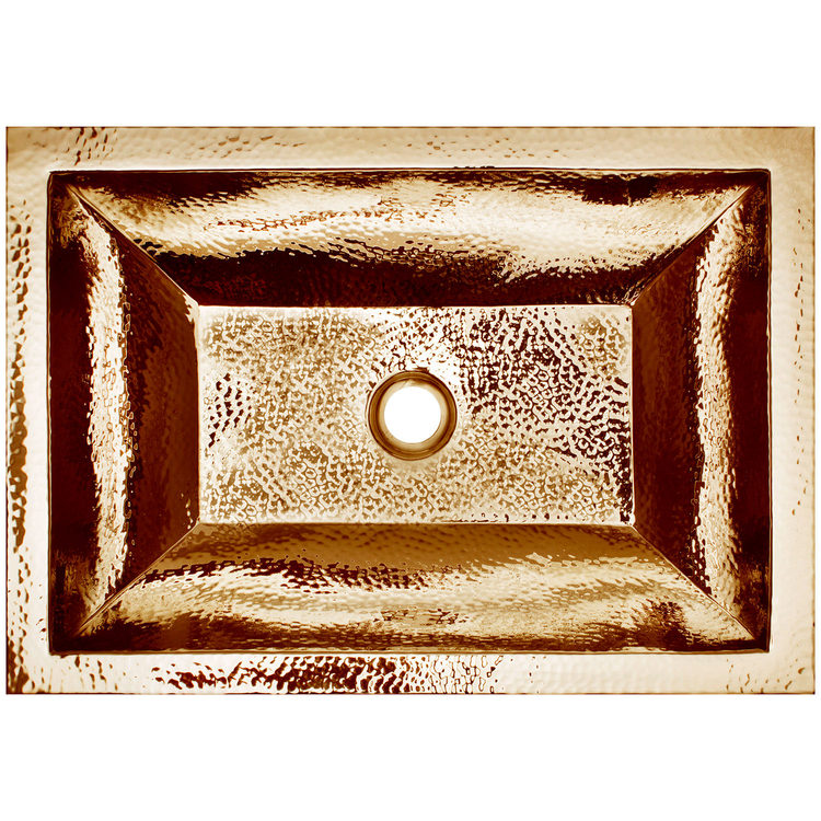 "Linkasink Bathroom Sinks – Builders Series – Brass – BLD107 PB – Coco Hammered – 20.25"" x 14.25"" with 1.5"" Drain Hole – Polished Unlaquered Brass Finish"