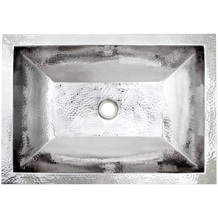 "Linkasink Bathroom Sinks – Builders Series – Stainless Steel – BLD107 PS – Coco Hammered – 20.25"" x 14.25"" with 1.5"" Drain Hole – Polished Stainless Steel Finish"