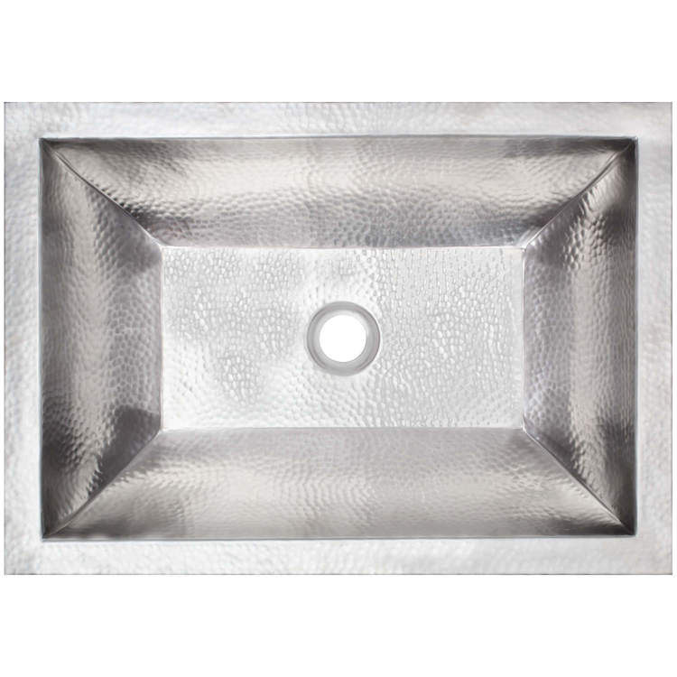 "Linkasink Bathroom Sinks – Builders Series – Stainless Steel – BLD107 SS – Coco Hammered – 20.25"" x 14.25"" with 1.5"" Drain Hole – Satin Stainless Steel Finish"