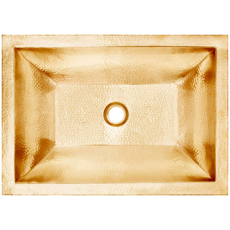 "Linkasink Bathroom Sinks – Builders Series – Brass – BLD107 UB – Coco Hammered – 20.25"" x 14.25"" with 1.5"" Drain Hole – Satin Unlaquered Brass Finish"