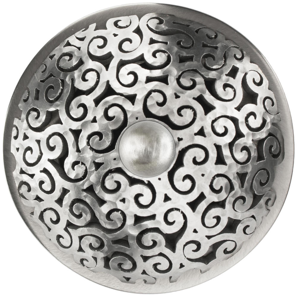 Linkasink Drain - Bathroom D016 SH Swirl 1.5 Grid Strainer Satin Hammered