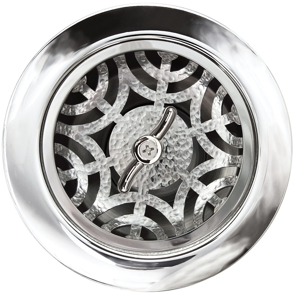 Linkasink Drain - Kitchen D051 PH Maze 3.5 Basket Strainer Polished Hammered