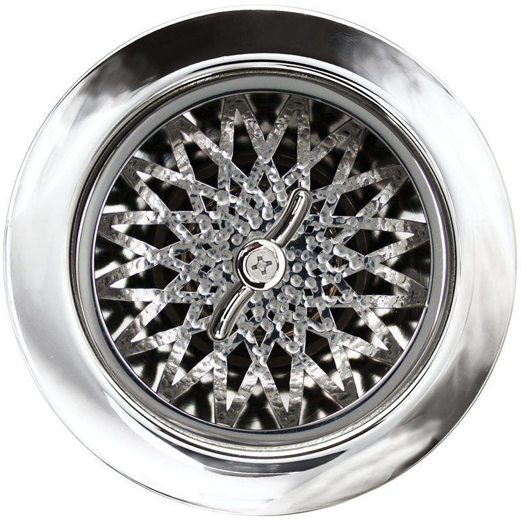 Linkasink Drain - Kitchen D055 PH Star 3.5 Basket Strainer Polished Hammered