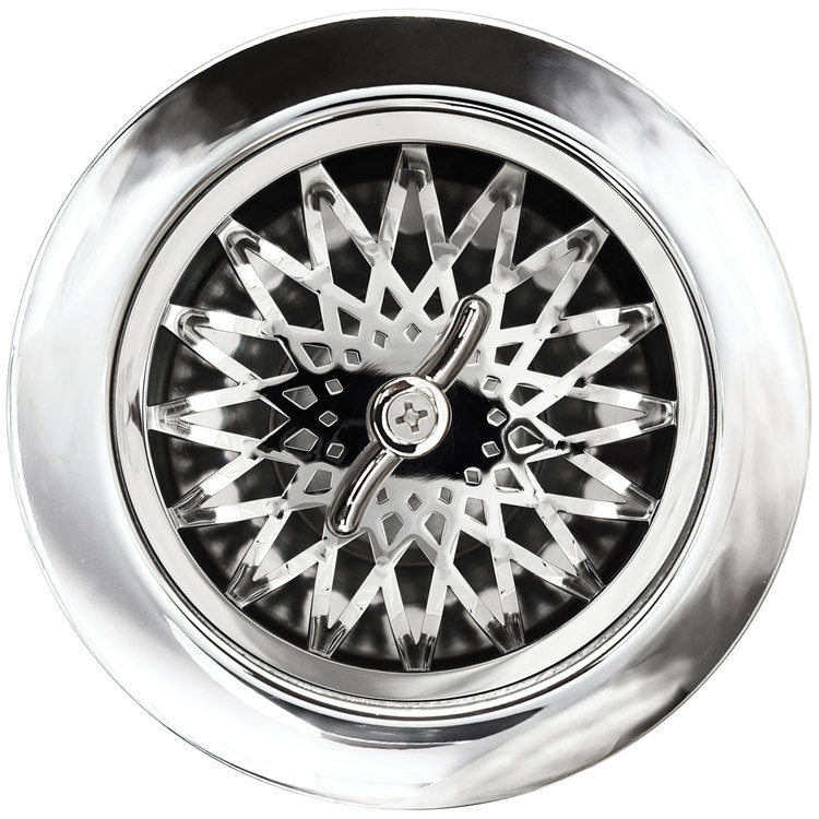 Linkasink Drain - Kitchen D055 PS Star 3.5 Basket Strainer Polished Smooth