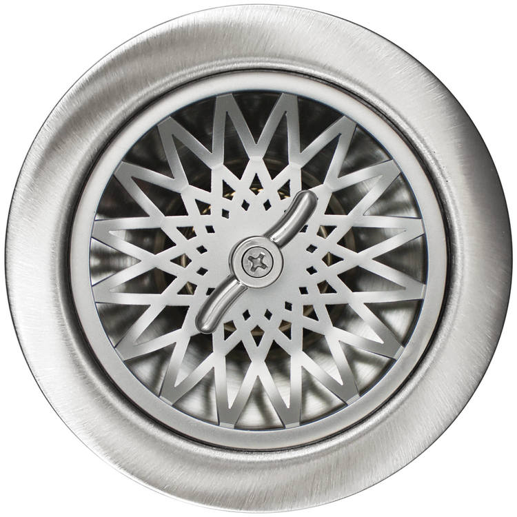 Linkasink Drain - Kitchen D055 SS Star 3.5 Basket Strainer Satin Smooth