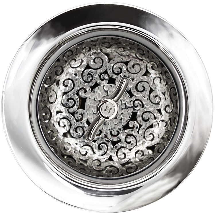 "Linkasink Drain - Kitchen D056 PH 3.5"" Swirl Basket Strainer Polished Hammered"
