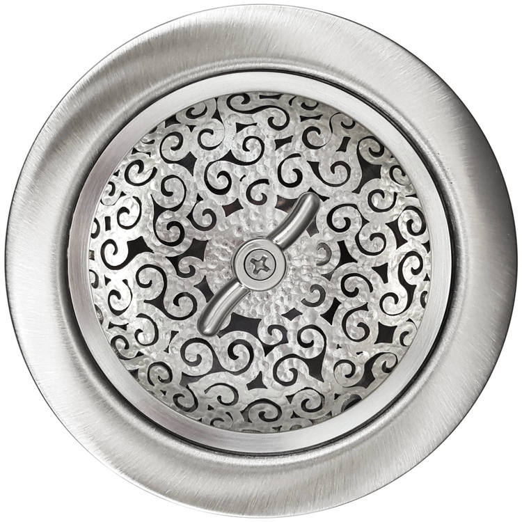 Linkasink Drain - Kitchen D056 SH Swirl 3.5 Basket Strainer Satin Hammered