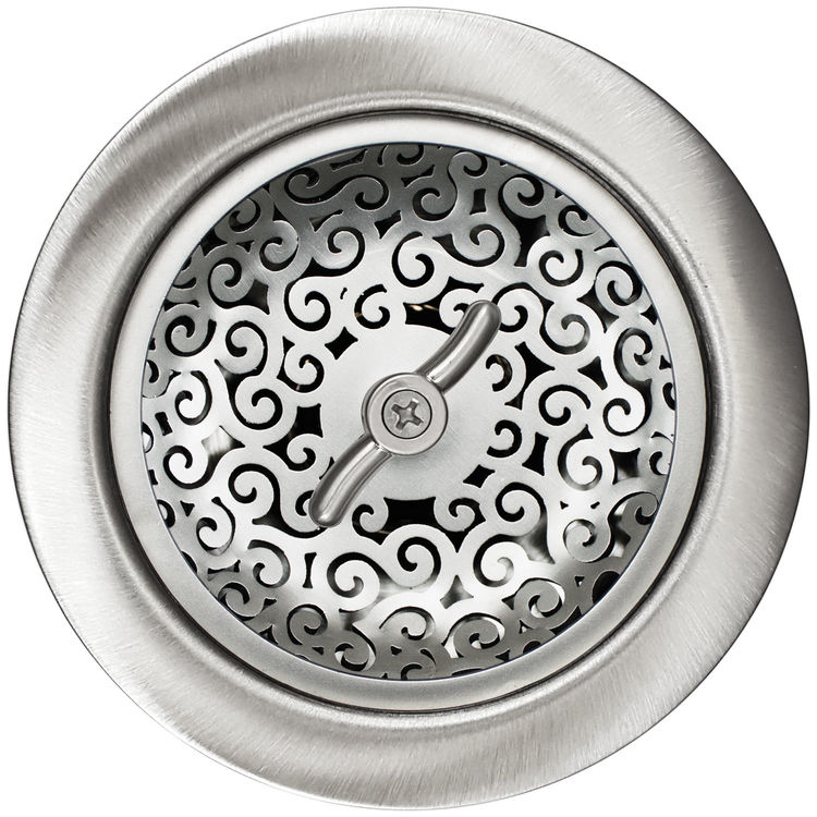 "Linkasink Drain - Kitchen D056 SS 3.5"" Swirl Basket Strainer Satin Smooth"