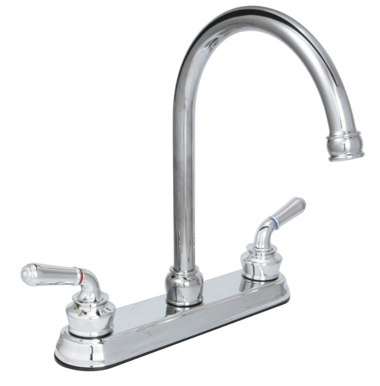 "Huntington Brass Kitchen Faucets - Decor Series K2220601 - Cypress 8"" Center Kitchen Faucet - Chrome"