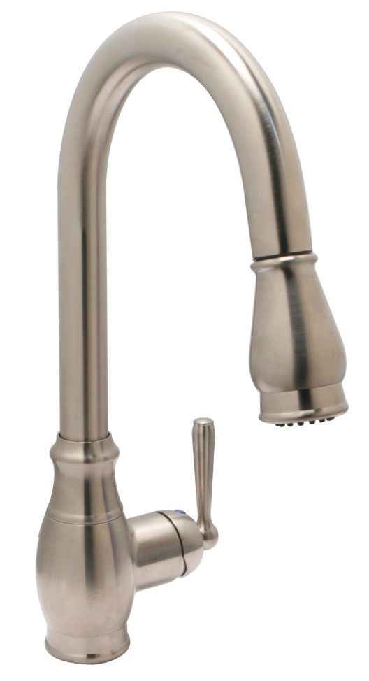 Huntington Brass Kitchen Faucets   Decor Isabelle K4811002 D   Pull Down Kitchen  Faucet   PVD Satin Nickel