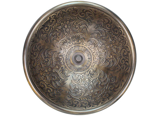 "Linkasink Bathroom Sinks - Bronze - B006 Brocade Bowl 17""x6"" - 4 Finishes"