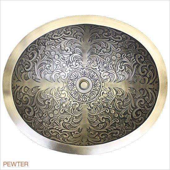 Linkasink Bathroom Sinks - Bronze - B018-P Brocade Oval Bowl - Polished White Bronze