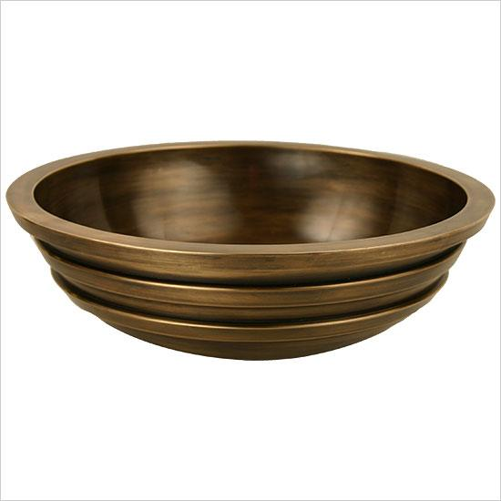 "Linkasink Bathroom Sinks - Bronze - B014 Exterior Stripes Bowl 17"" - White Bronze"