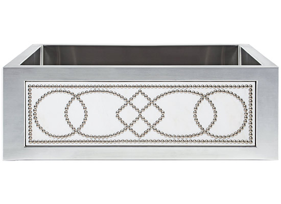 Linkasink Kitchen Farmhouse Sinks - C071-30-SS Stainless Steel Inset Apron Front Sink - Smooth Finish PNL303 Marble Studs