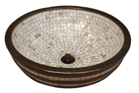 "Linkasink Bathroom Sinks - Mosaic - CM04 Exterior Stripes Mosaic Tile Sink - 17"" x 6"" with 1.5"" drain"
