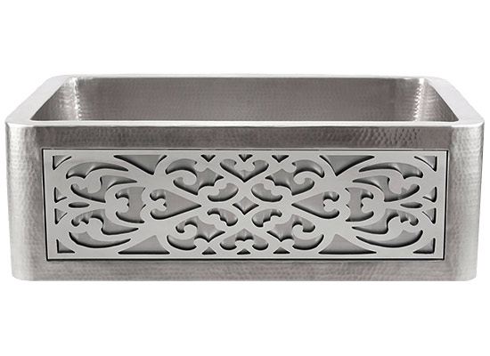 Linkasink Kitchen Farmhouse Sinks - C070-30-SS Stainless Steel Inset Apron Front Sink - Hand Hammered - PNL105 - Filigree