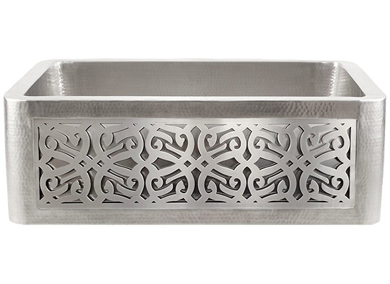 Linkasink Kitchen Farmhouse Sinks - C070-30-SS Stainless Steel Inset Apron Front Sink - Hand Hammered - PNL106 - Tribal