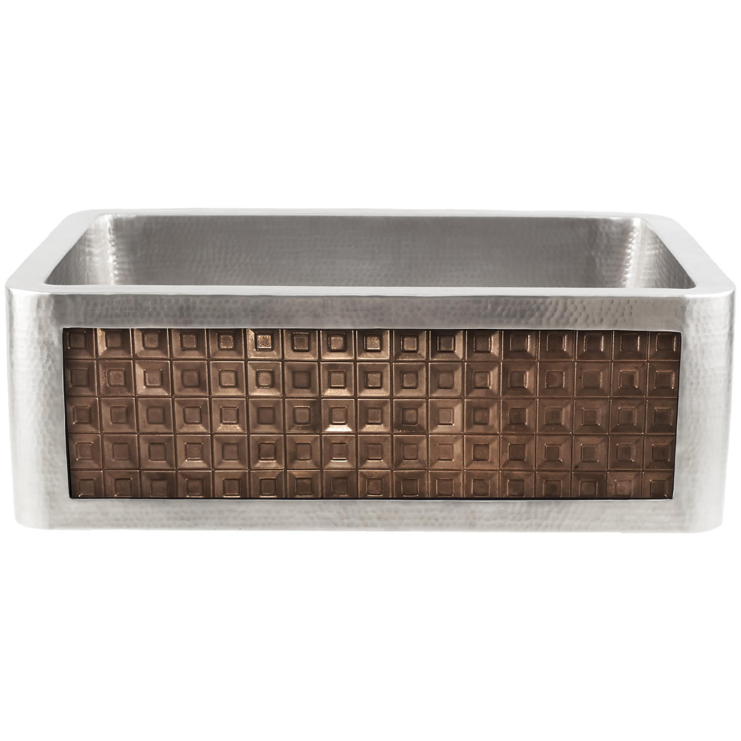 Linkasink Kitchen Farmhouse Sinks - C070-30-SS Stainless Steel Inset Apron Front Sink - Hand Hammered - PNL202-B - Tile Bronze