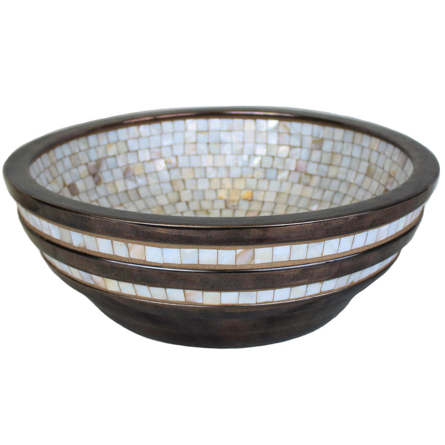 Linkasink Bathroom Sinks - Mosaic - CM04-B Striped Mosaic Vessel - Porcelain Bronze Glaze