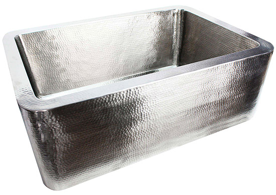 "Linkasink Kitchen Farmhouse Sinks - C020-33-SS Stainless Steel - Hammered Sink Apront Front - 3.5"" Drain"