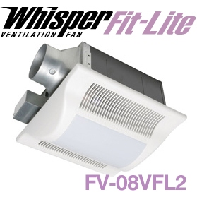 "Panasonic Fans - WhisperFit FV-08VFL2 Lite Bathroom Fan with Light - 80 CFM - 1.0 Sones - 3"" or 4"" Duct"