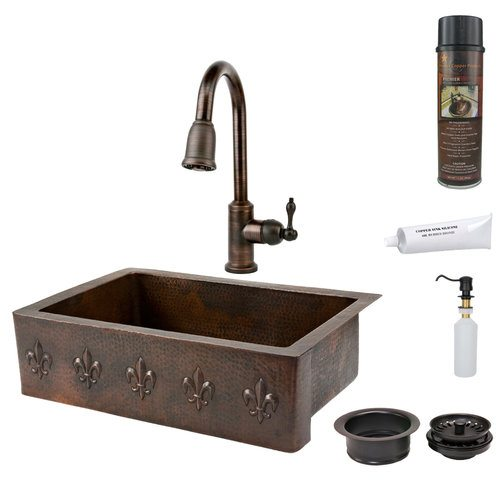 "Premier Copper Package - Farmhouse Kitchen Sink KSP2-KASDB33229F - 33"" Hammered Kitchen Apron Single Basin Sink w/ Fleur De Lis"