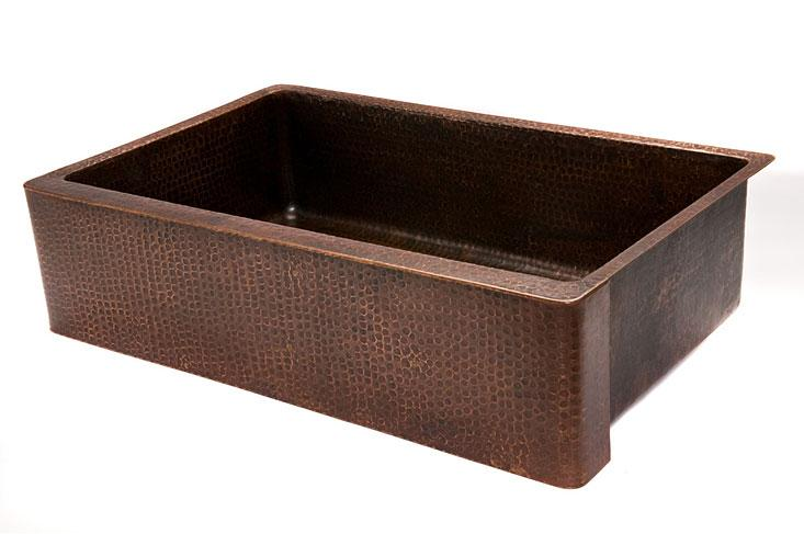 "Premier Copper Products - Farmhouse Kitchen Sink KASDB35229 - 35"" Copper Hammered Kitchen Apron Single Basin Sink"