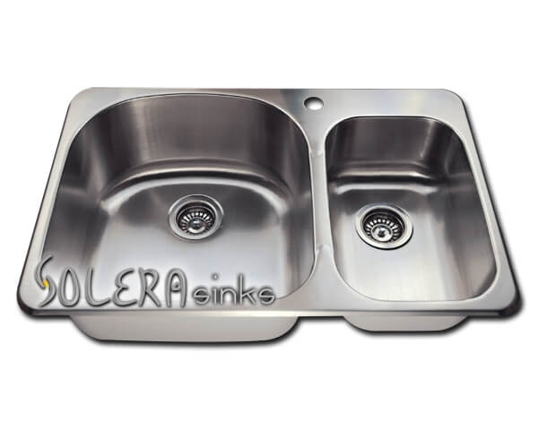 Solera Sinks - Kitchen - Stainless Steel SL1213T - Double Overmount Offset 18 Gauge