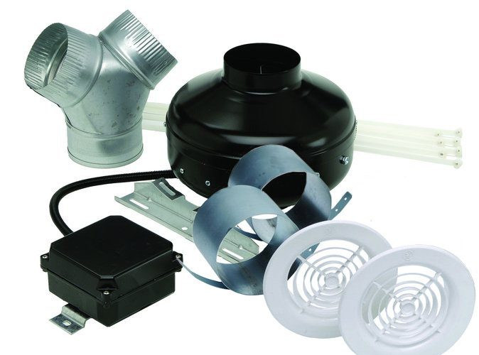 S&P Soler & Palau Inline Centrifugal Fan - Power Vent Kit Deluxe Exhaust KIT-PV-100x-DV 4 inch duct - 153 cfm