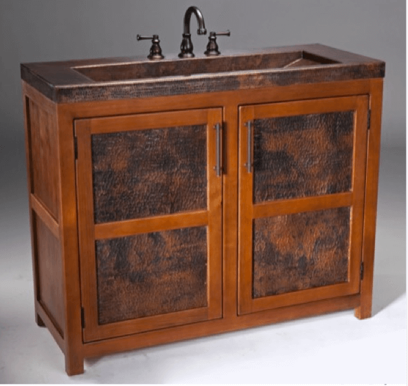 Thompson Traders Vanities - VTL Grande Rustic Bathroom Vanity & Copper Sink includes drain